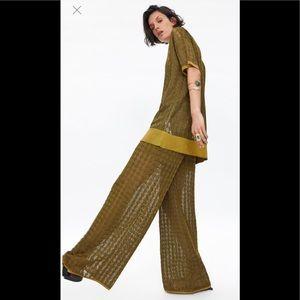 Zara Sheer Gold Knit Pants